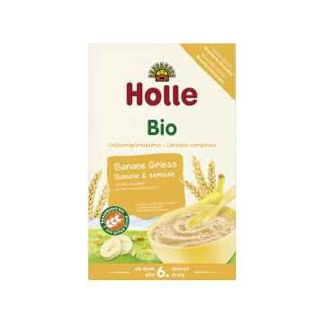 Holle Bio Organická ovocná kaše banán-krupice 250 g