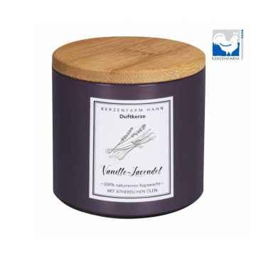 Kerzenfarm Přírodní svíčka Vanilla lavender, pískové sklo 1 ks, 6,5 cm