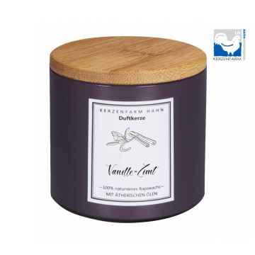Kerzenfarm Přírodní svíčka Vanilla cinnamon, pískové sklo 1 ks, 6,5 cm