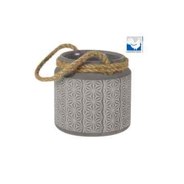 Kerzenfarm Skleněný svícen na čajové svíčky, šedý 1 ks, 9,5 cm