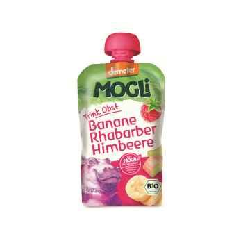 MOGLI Bio Ovocné pyré banán rebarbora malina bez cukru 100 g
