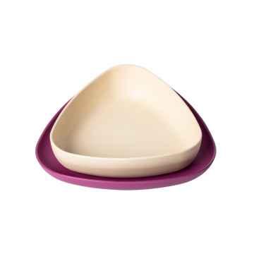 eKoala eKeat BIO plast Dětská jídelní sada fialová/bílá 2 ks