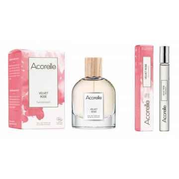 Acorelle Vánoční sada Velvet Rose s kosmetickou taštičkou 50 ml + 10 ml