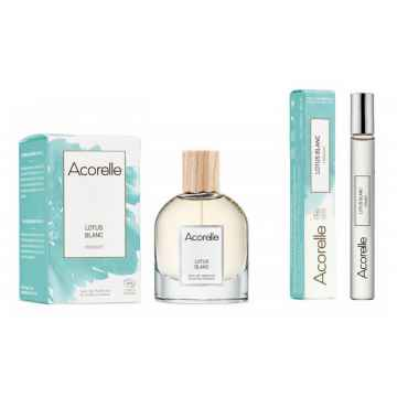 Acorelle Vánoční sada Lotus Blanc unisex s kosmetickou taštičkou 50 ml + 10 ml