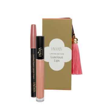 Inika Organic Luscious Lips sada líčení na rty 3 g + 5 ml