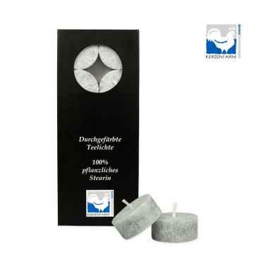 Kerzenfarm Čajové svíčky, Grey 10 ks