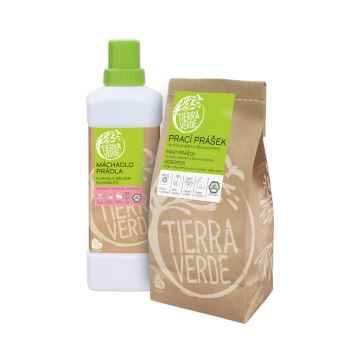 Tierra Verde Prací prášek na bílé prádlo a pleny + Máchadlo prádla, multipack 850 g + 1 l