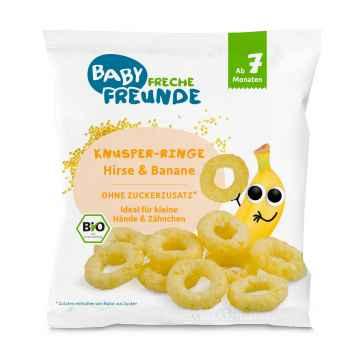 Freche Freunde BIO Křupavé kroužky proso a banán 20 g