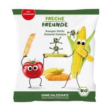 Freche Freunde BIO Zeleninové tyčinky s rajčetem, kukuřicí a hráškem 30 g