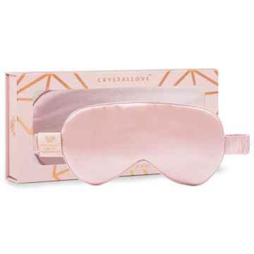 Crystallove Hedvábná maska na oči, růžová 1 ks