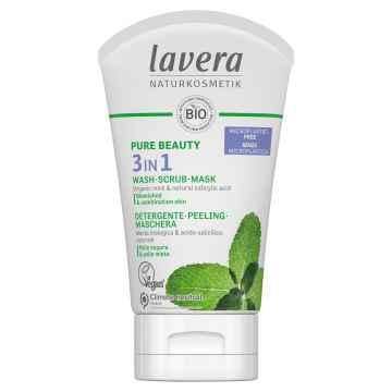 Lavera Pure Beauty Čistící gel, peeling a maska 3v1 125 ml
