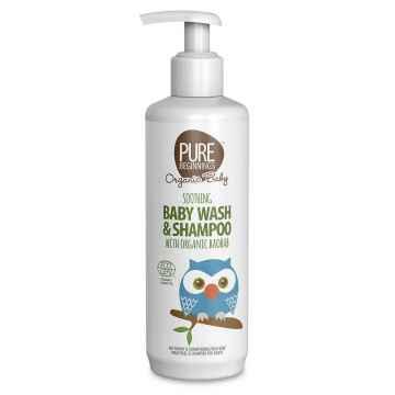 PURE BEGINNINGS Zklidňující tekuté mýdlo a šampon s baobabem BIO pro miminka, Exspirace 9/2021 250 ml