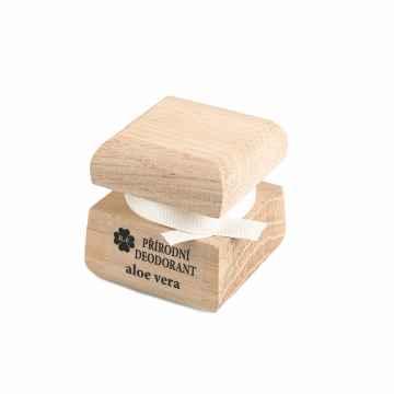 Přírodní krémový deodorant s vůní Aloe vera 15 ml dřevěný obal