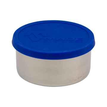 Made Sustained Nerezový kulatý box na jídlo se silikonovým víkem, velký 450 ml, modrý