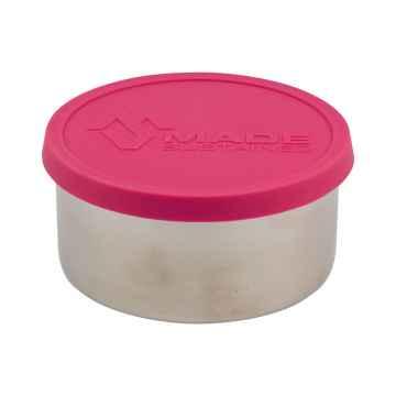 Made Sustained Nerezový kulatý box na jídlo se silikonovým víkem, velký 450 ml, růžový