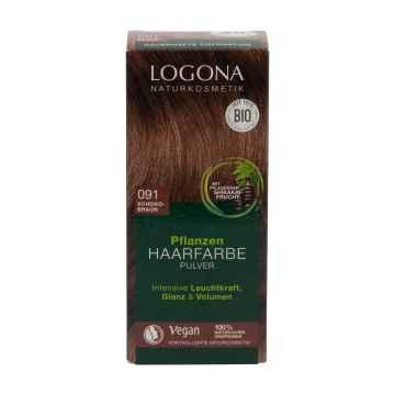 Logona Prášková barva na vlasy čokoládově hnědá, 091 100 g