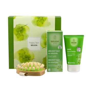 Weleda Happy skin, set 1 ks, (150 ml + 100 ml + kartáč)