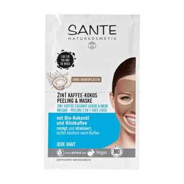 SANTE Pleťová maska 2v1 Peeling & Maska Káva + Kokos 2 x 4 ml