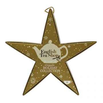 English Tea Shop Vánoční zlatá hvězda, 6 pyramidek, bio 1 ks sada, (6 ks v balení)