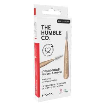 Humble Brush Bambusové mezizubní kartáčky 6 ks, velikost 2 - 0,50mm, červená