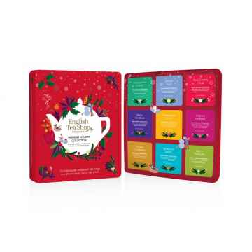 English Tea Shop Prémiová vánoční sada Červené Vánoce, plechová krabička, bio 144 g, 72 ks