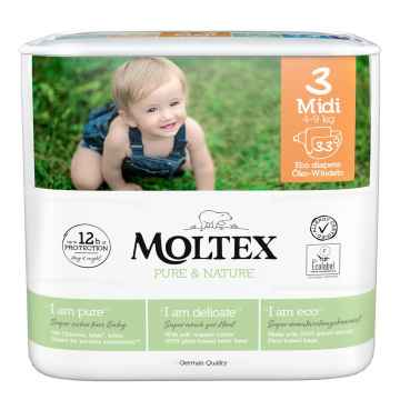 Moltex Dětské plenky Midi 4-9 kg, Pure & Nature 33 ks