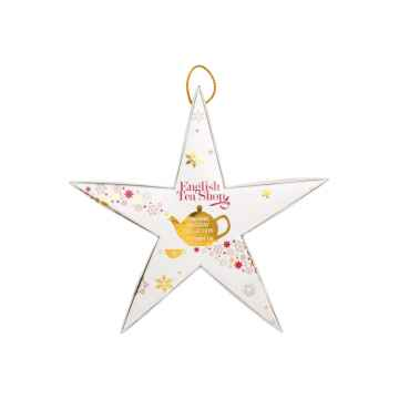 English Tea Shop Vánoční červená a zlatá hvězda, 6 pyramidek, bio 1 ks sada, (6 ks v balení)