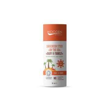 WOODEN SPOON Opalovací krém v tyčince pro děti Baby & Family SPF 45+ 60 ml