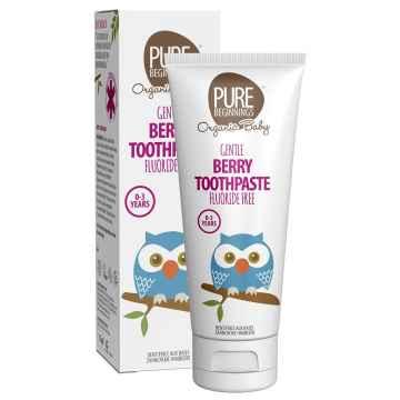 PURE BEGINNINGS Berry Toothpaste fluoride free 0-3Y zubní pasta pro miminka bez fluoridů, malinová příchuť 75 ml