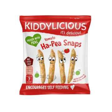 KIDDYLICIOUS Ha-Pea Snaps hráškové lusky s rajčaty 15 g