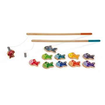 Janod Dřevěné magnetické rybářské udice pro děti od 2 let 2 udice