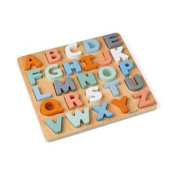 Janod Sweet Cocoon dřevěné vkládací puzzle Abeceda a tabulka na psaní 26 písmen