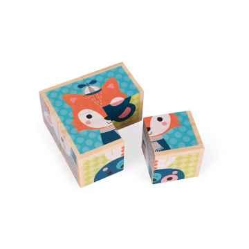 Janod My First Blocks dřevěné kostky pohádkové Lesní zvířátka od 1 roku 4 kostky