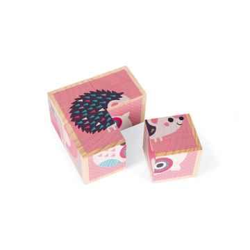 Janod My First Blocks dřevěné kostky pohádkové Lesní mláďátka od 1 roku 4 kostky