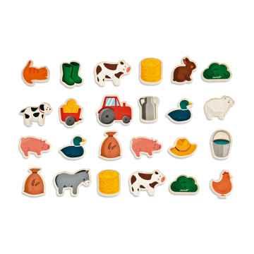 Janod Magnets dřevěné magnetky zvířata na farmě od 2 let 24 magnetek