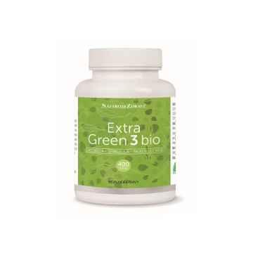Extra green 3 Bio chlorella, spirulina, mladý ječmen, tablety 400ks, 100 g