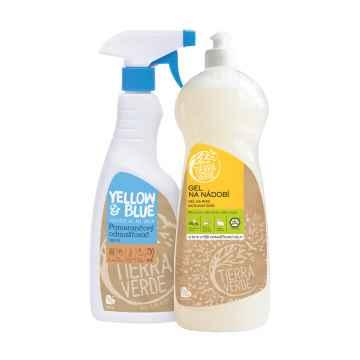 Tierra Verde Gel na nádobí BIO citron + Pomerančový odmašťovač sprej, multipack 1 l +750 ml