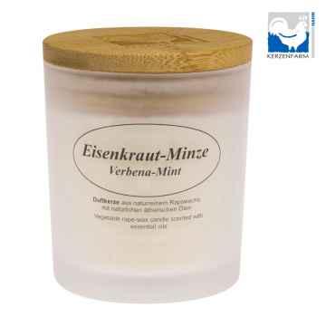 Kerzenfarm Přírodní svíčka Verbena Mint, mléčné sklo 8 cm