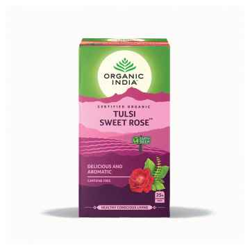 1x Organic India Čaj Tulsi Sweet Rose, porcovaný 18 ks, 28,8 g