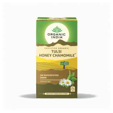 Organic India Čaj Tulsi Honey Chamomile, porcovaný 18 ks, 30,6 g