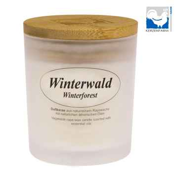 Kerzenfarm Přírodní svíčka Winter Forest, mléčné sklo 1 ks, 8 cm