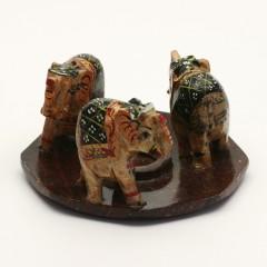 ostatní Stojánek kamenný na vonné tyčinky, 3 sloni 1 ks