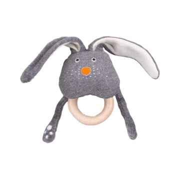 Wolly organic Funky chrastítko s dřevěným kousátkem Bunny 1 ks