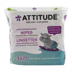 Attitude Vlhčené ubrousky bez vůně 3 x 72 ks