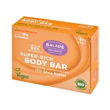 Balade en Provence BIO Vyživující tuhé sprchové mýdlo pomerančový květ 80 g