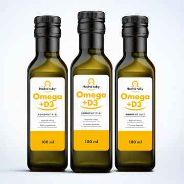 Hodné tuky Omega D3 3 x 100 ml