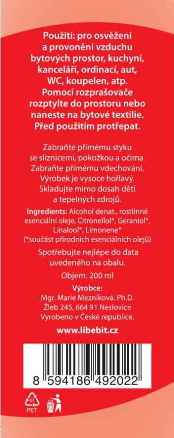 Libebit Osvěžovač vzduchu geranium 200 ml