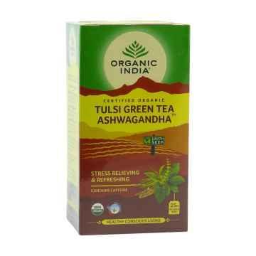 Organic India Čaj Tulsi Green Tea Ashwaganda, bio 50 g, 25 ks