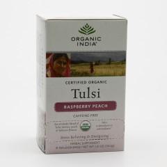 Organic India Čaj Tulsi Raspberry Peach, porcovaný, bio 34,2 g, 25 ks