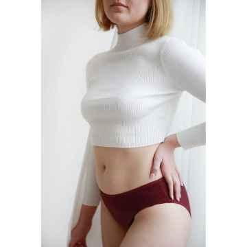 SAYU Menstruační kalhotky vyšší s krajkou bordó 1 ks, vel. 38